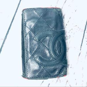 Chanel Leather Matelasse Cambon CC Logo Key Case